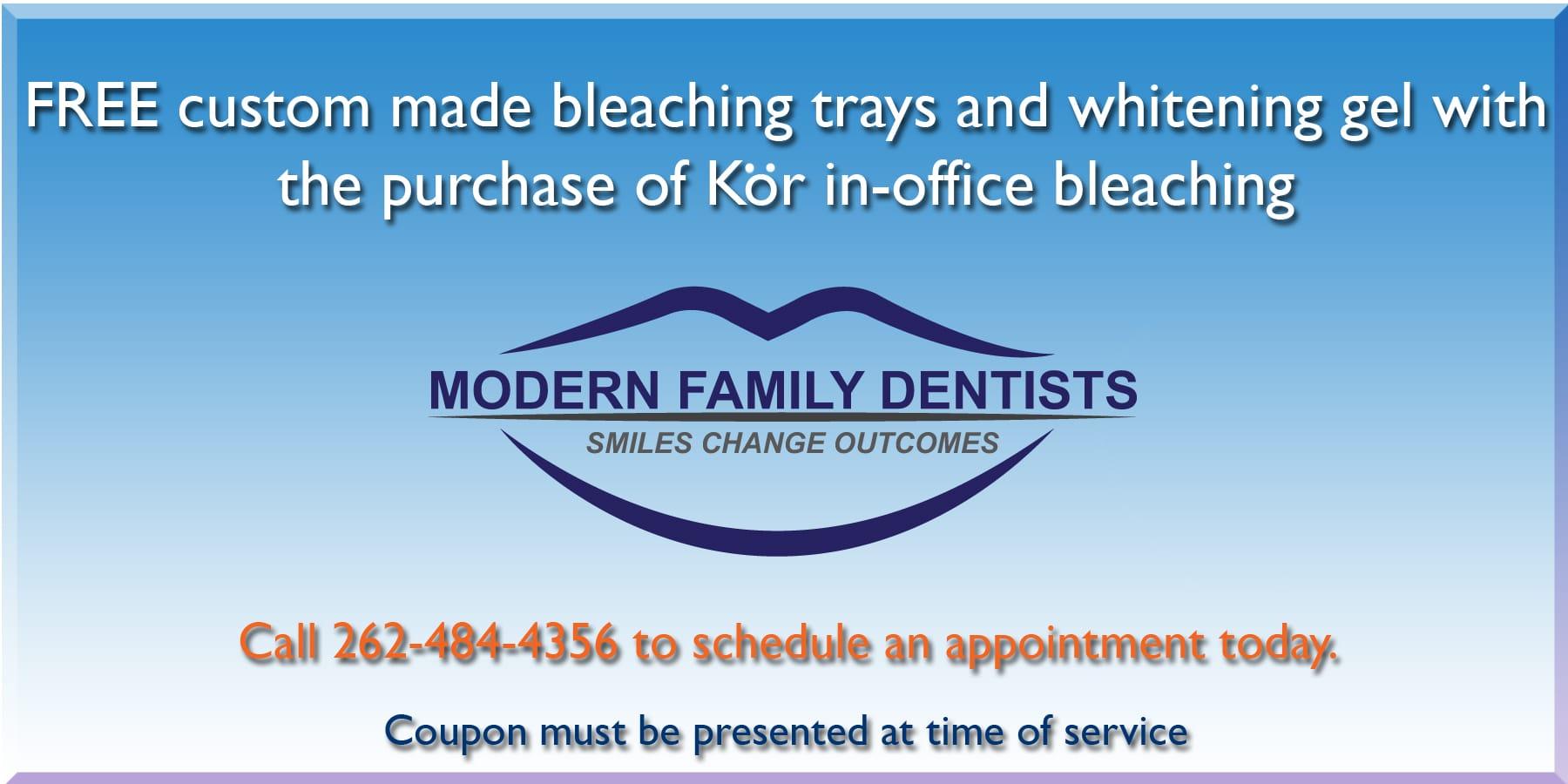 Free Custom Tooth Bleaching Trays, Modern Family Dentists Kenosha, Pleasant Prairie